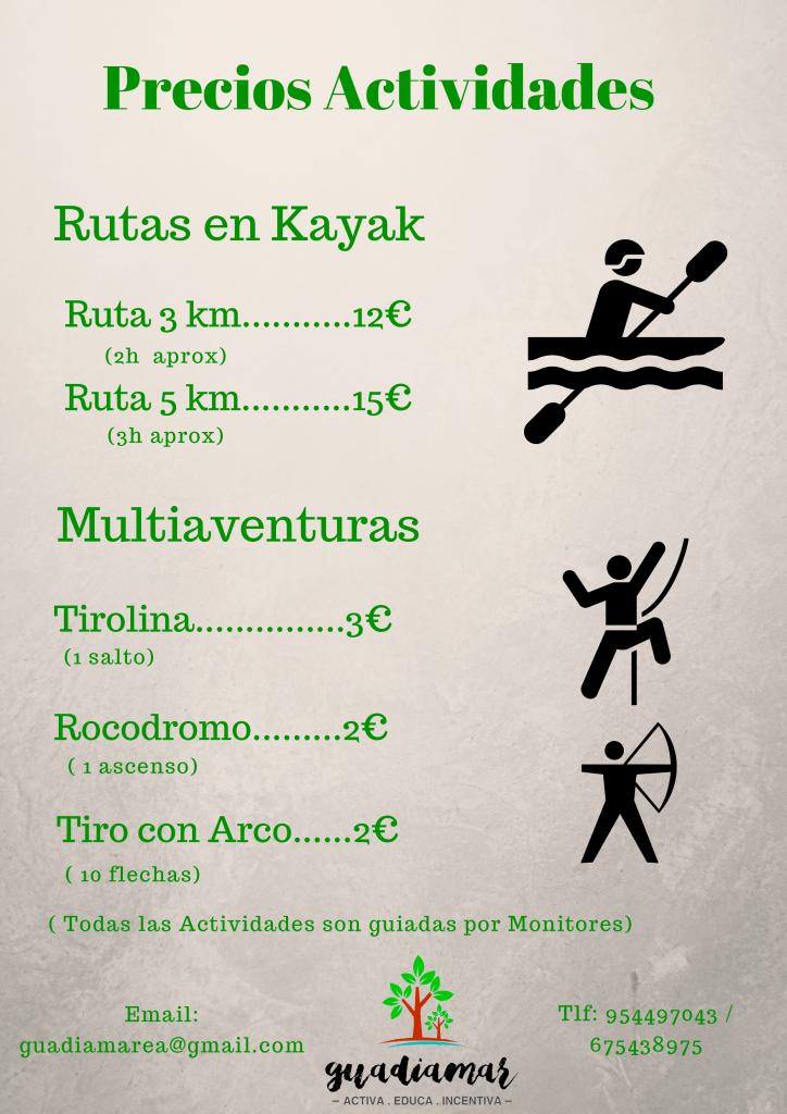 Precios Kayak y Multiaventura